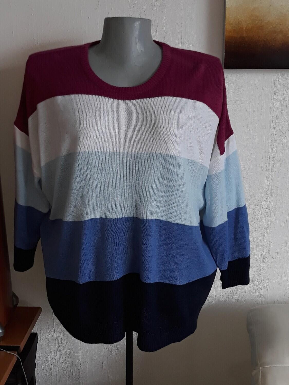 54/56-os 5xl-es több színű kötött pulóver