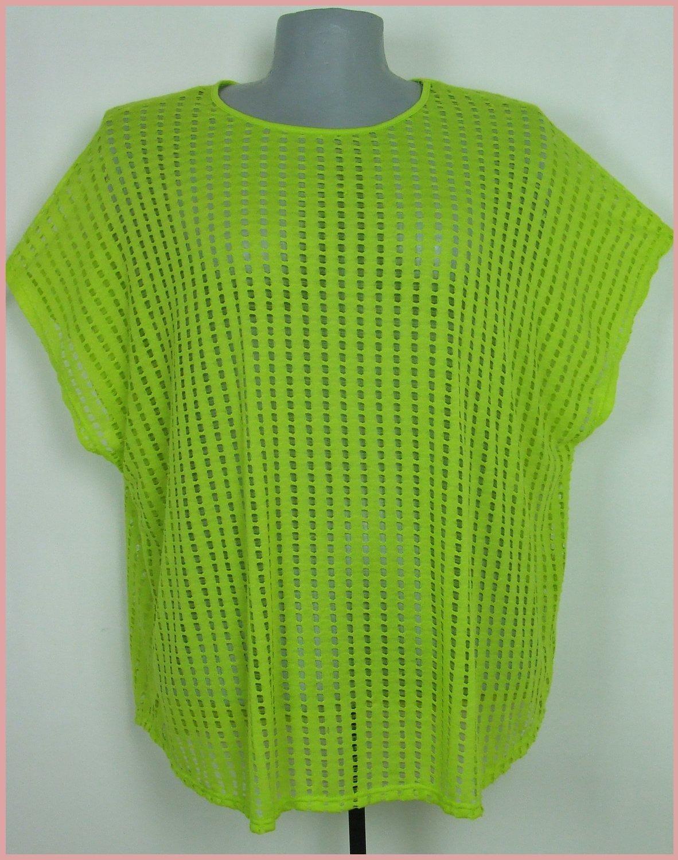 58-as 6XL-es divatos neon zöld hálós felsőrész