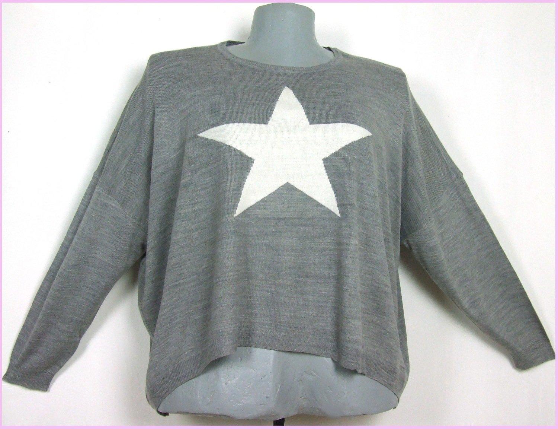 56-os nagyméretű csillagmintás pulóver