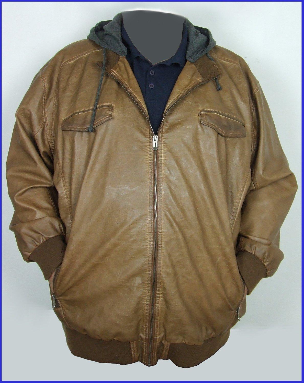5XL-es 72/74-es divatos kapucnis férfi bőrkabát