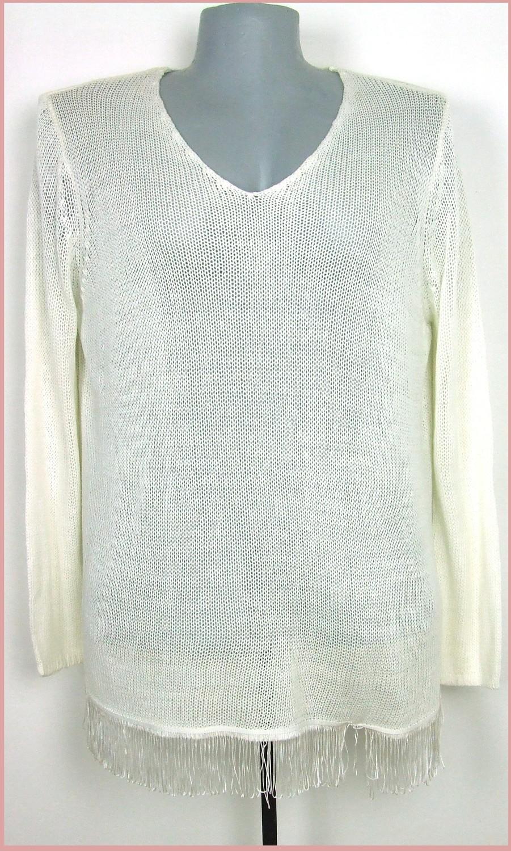 54-es vékony kötésű divatos rojtos aljú pulóver