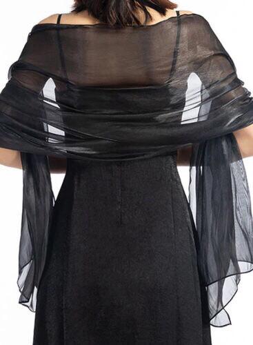 Stola / Schultertuch schwarz glanz