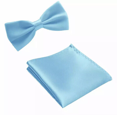 Fliege & Einstecktuch glanz hellblau