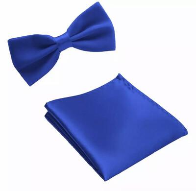 Fliege & Einstecktuch glanz königsblau