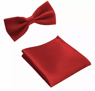 Fliege & Einstecktuch glanz rot