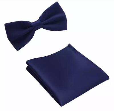 Fliege & Einstecktuch glanz marine blau