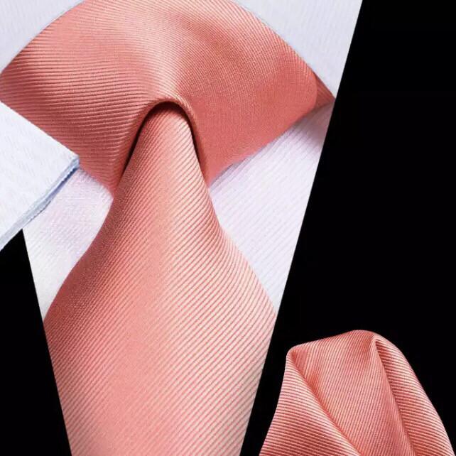 Krawatte & Einstecktuch breit coral lachs