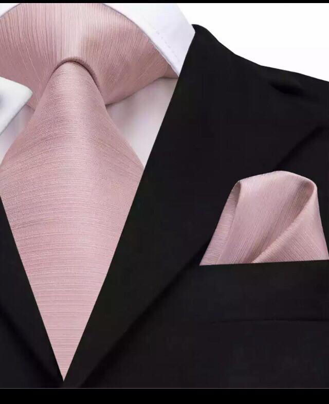 Krawatte & Einstecktuch breit altrosa rosa