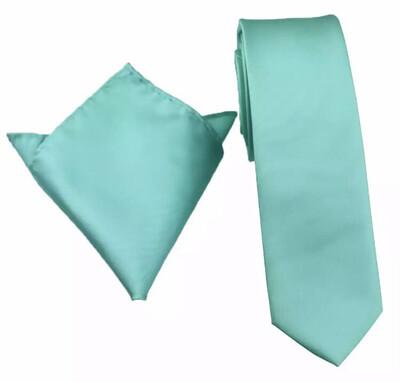 Krawatte & Einstecktuch schmal türkis