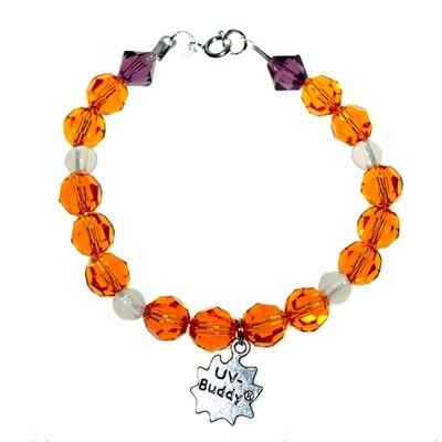 Ginger Parrot Coloured Sterling Silver UV Awareness Bracelet With Swarovski Elements