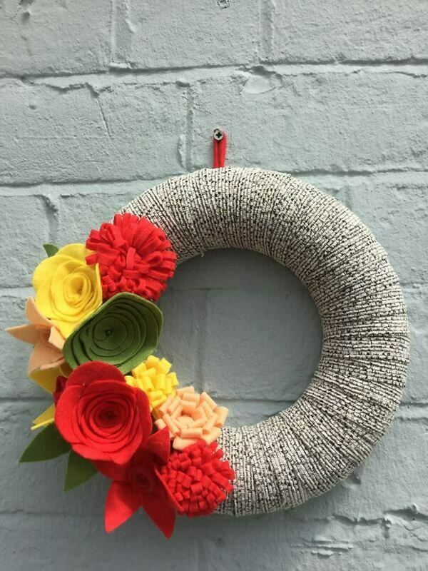 Summer/Autumnal Wreaths with Hand Crafted Felt Flowers with Tea and Cake- Various Venues and dates