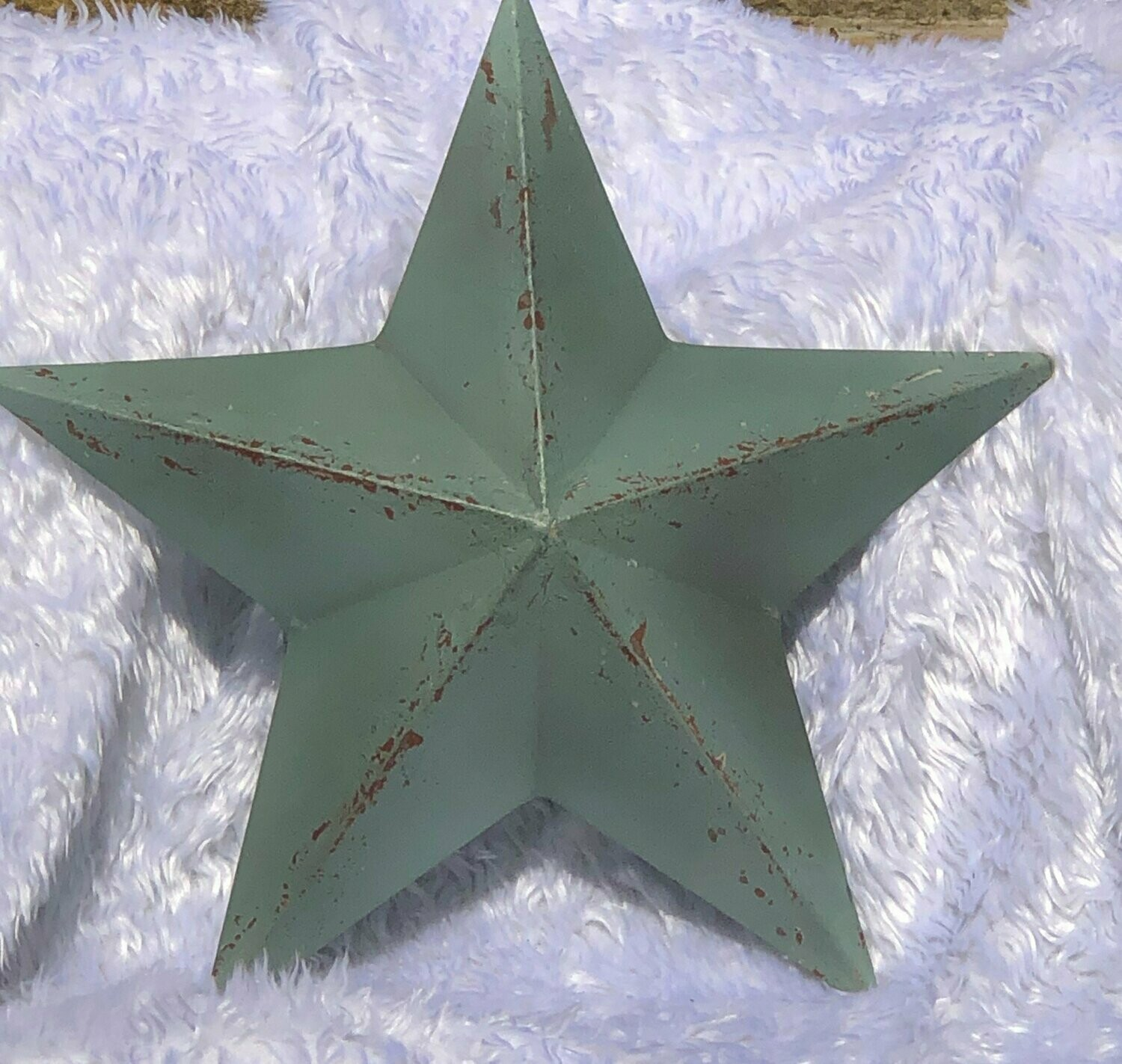 3d Amish Rustic Barn Star Decoration Blue Metal