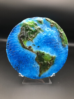 """Flat Earth"" Fused Glass Home Decor -- No. 002"
