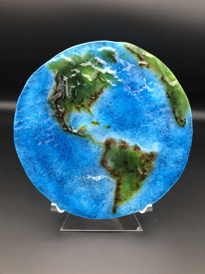 """Flat Earth"" Fused Glass Home Decor -- No. 003"