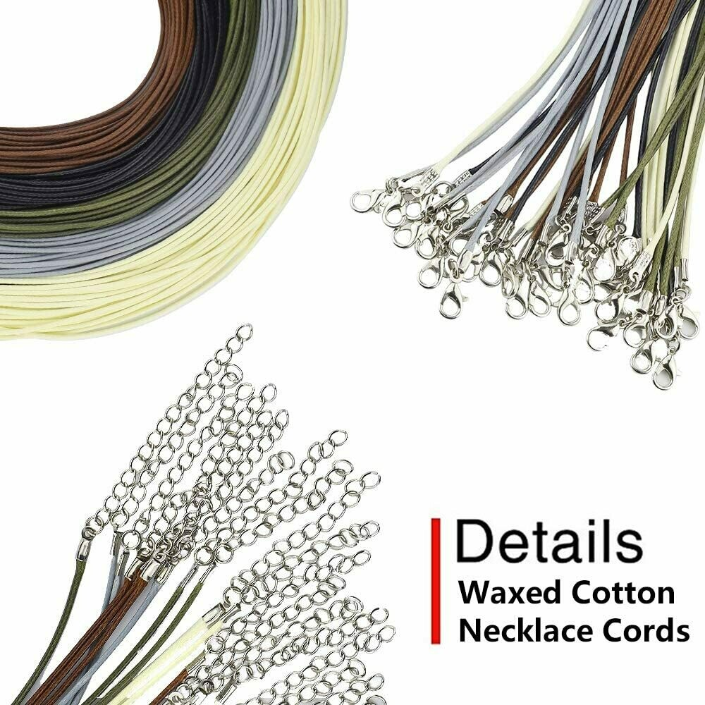 18-inch 1.5mm Waxed Cotton Cord Necklace with Lobster Clasp