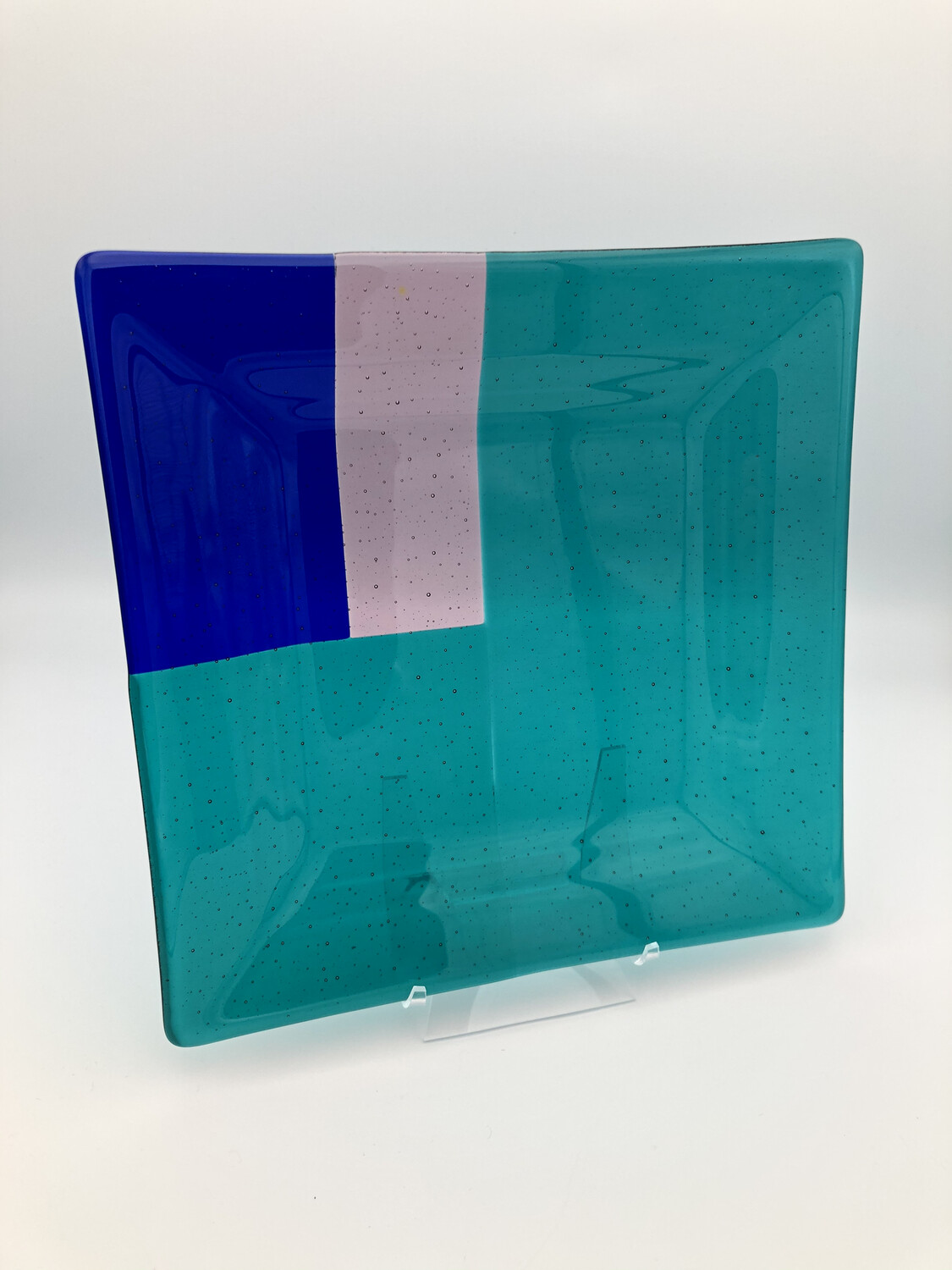 """""""That Peacock is Square!"""" Fused Glass Platter"""
