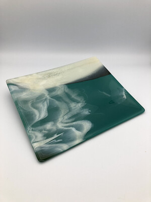 """Vanilla Clouds"" Fused Glass Platter"