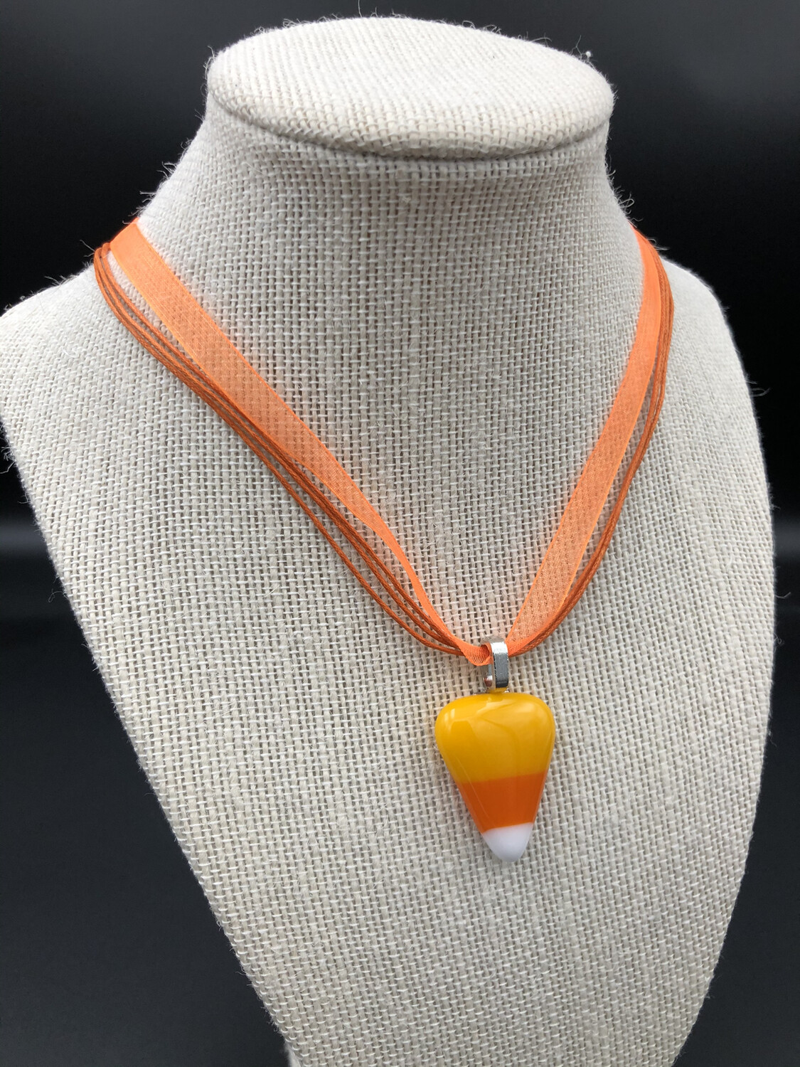 Candy Corn Ribbon Necklace