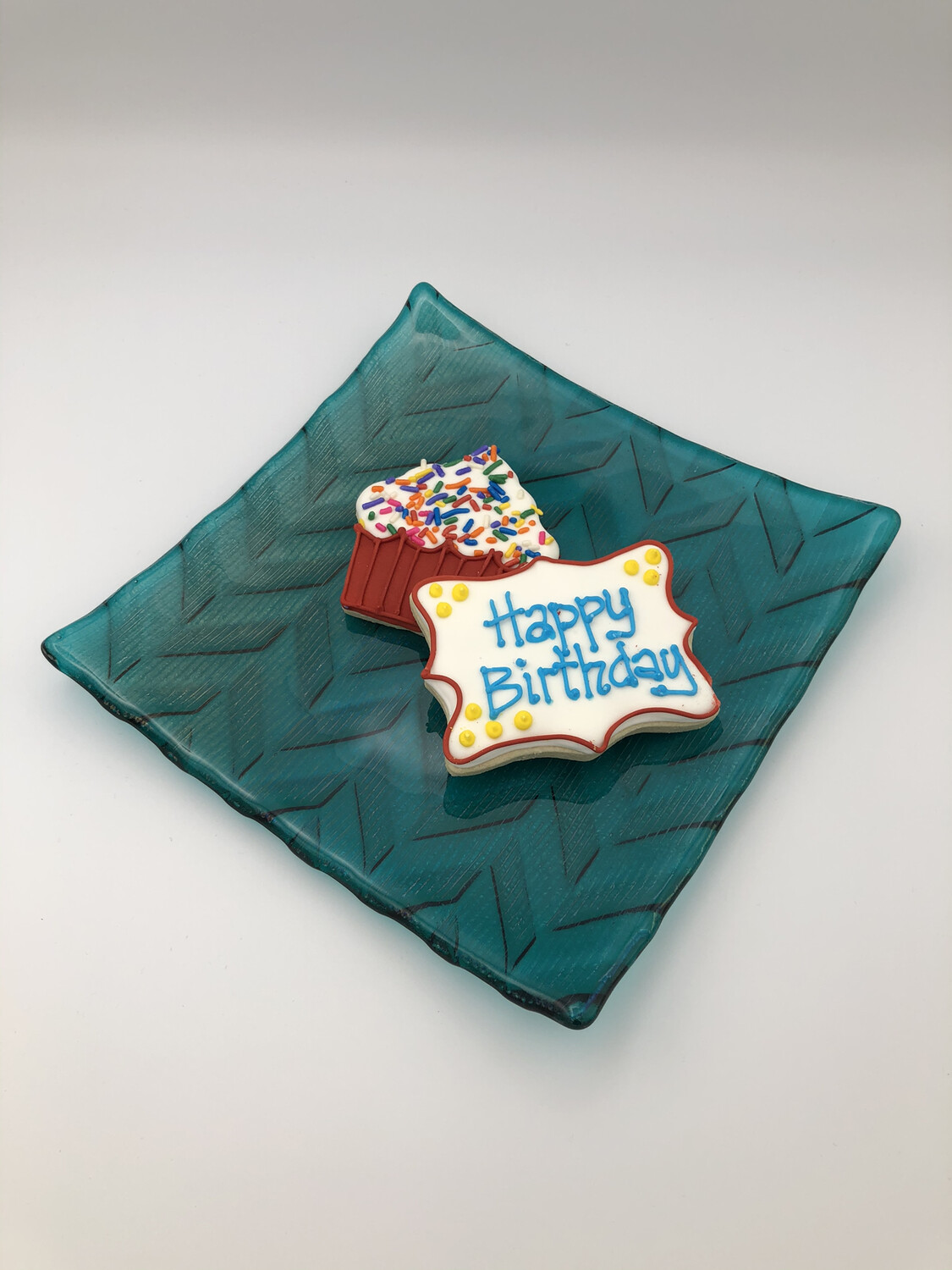 """Iridized Peacock with Lines"" 8-inch Fused Glass Plate"