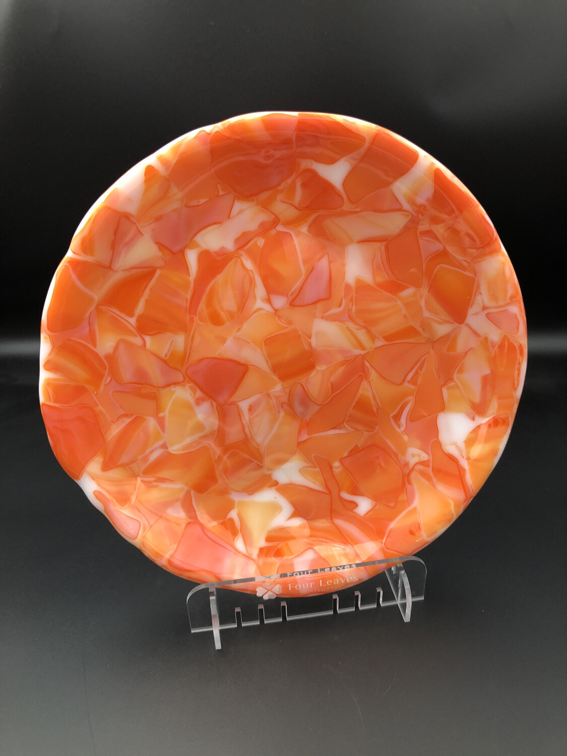 """Creamsicle"" Fused Glass Dish/Platter"