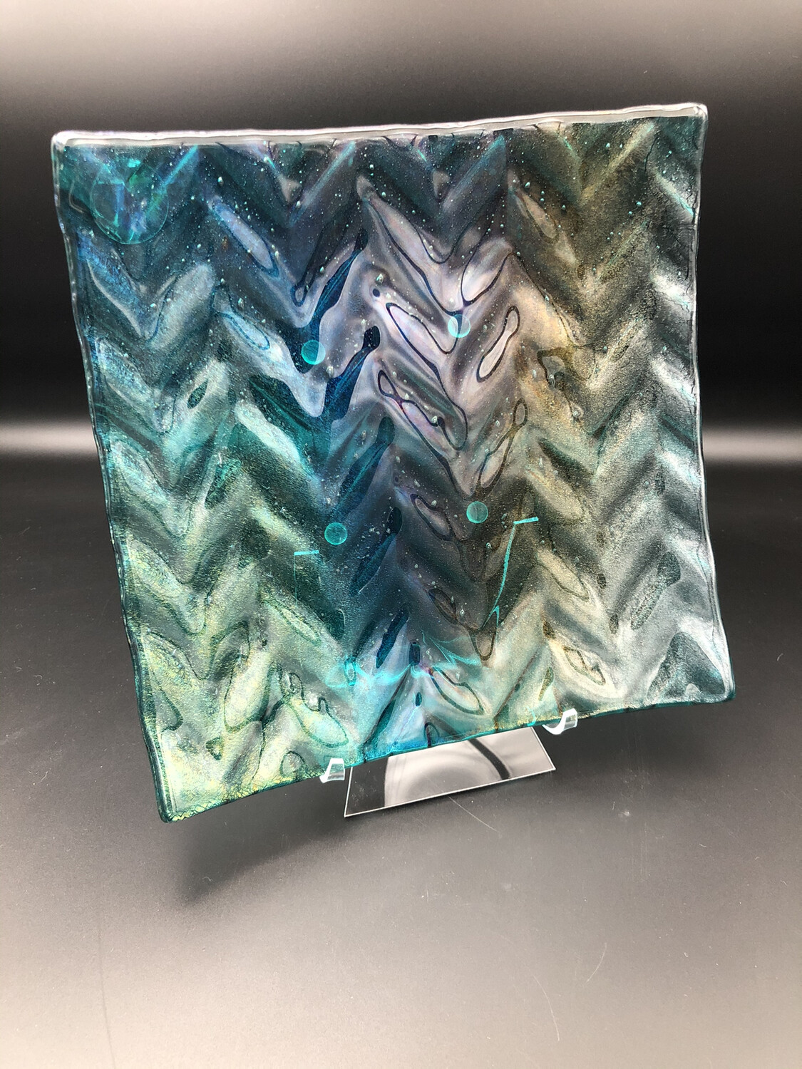 """Iridized Peacock HERRINGBONE"" 8-inch Fused Glass Plate"