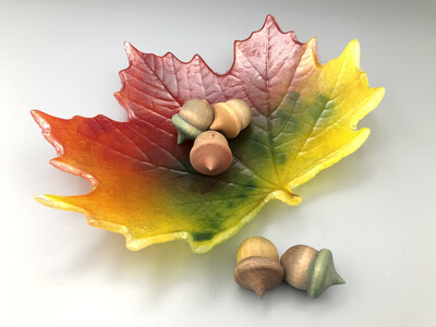 """""""Is that REAL?!?"""" Fused Glass Fall Leaf Candy Dish"""