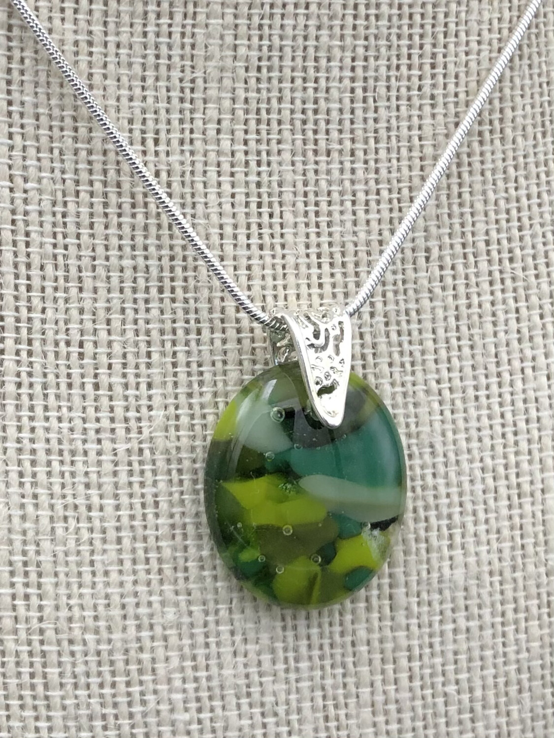 """Becky"" Kilnformed Glass Necklace"