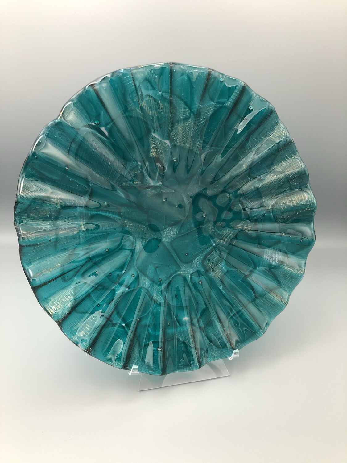 """""""Disco Peacock"""" 10-inch Fluted Fused Glass Plate"""