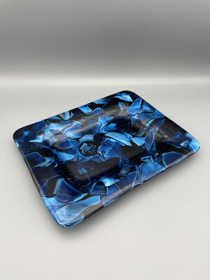 """Choppy Waters"" Fused Glass Dish/Platter"