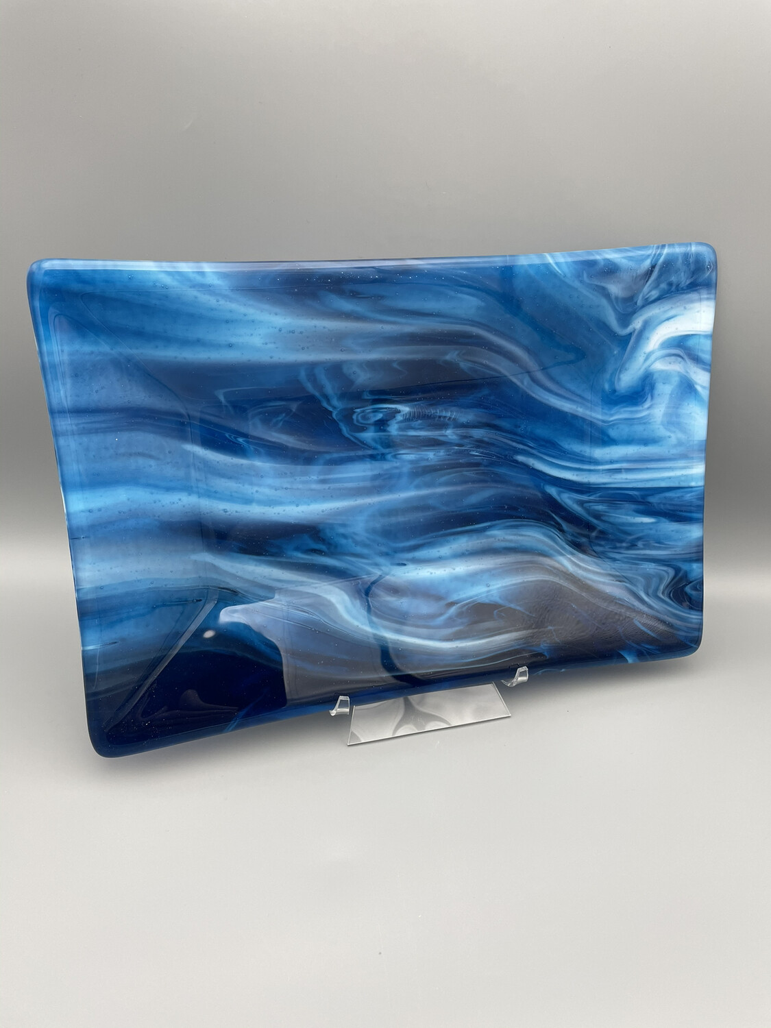 """Deep Waves"" Fused Glass Platter"