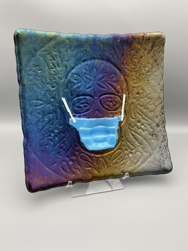 """DEAL CORNER: """"Día de Muertos"""" Day of the Dead/Sugar Skull Fused Glass Platter"""