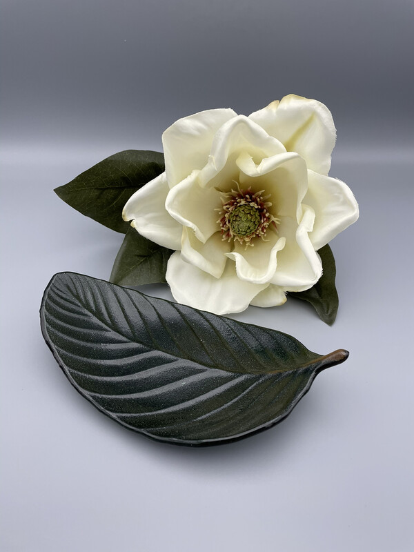 Southern Magnolia Fused Glass Leaf Candy Dish