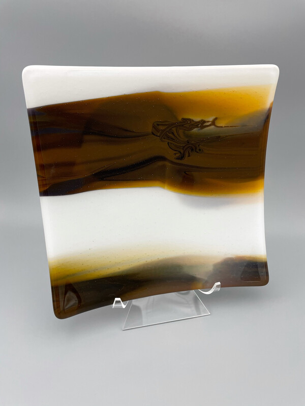 """""""Coffee and Cream"""" Fused Glass Platter"""