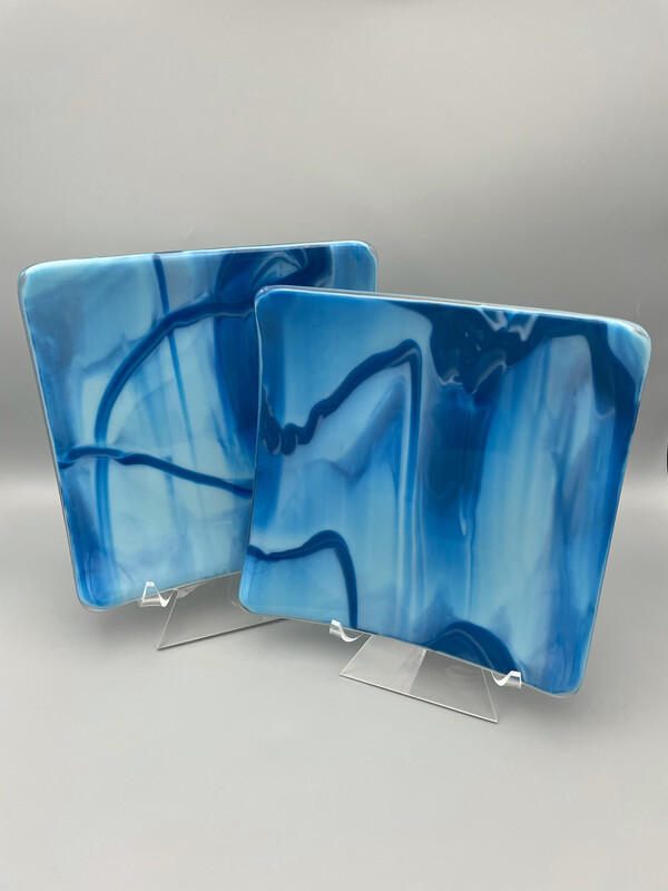 """""""Sisters"""" Fused Glass Platters"""