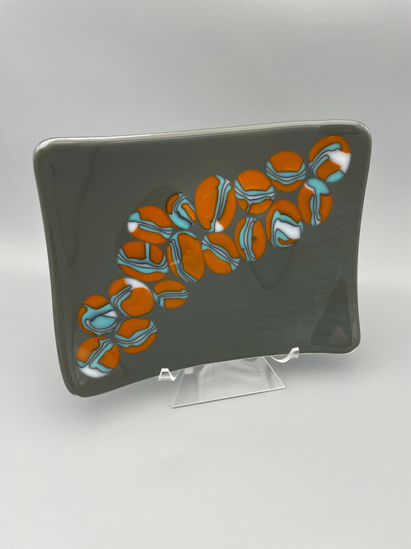 """""""Puddles"""" Fused Glass Platter"""