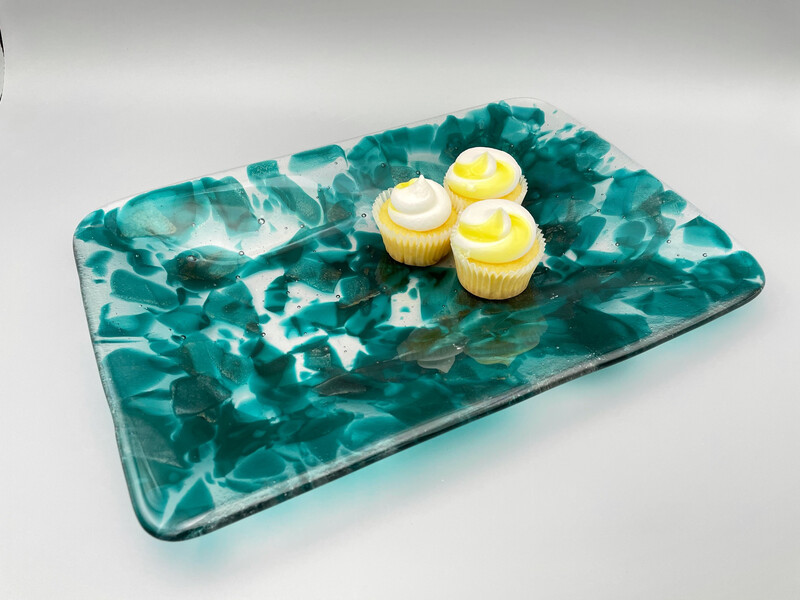 """""""Marbled Peacock"""" Fused Glass Platter"""