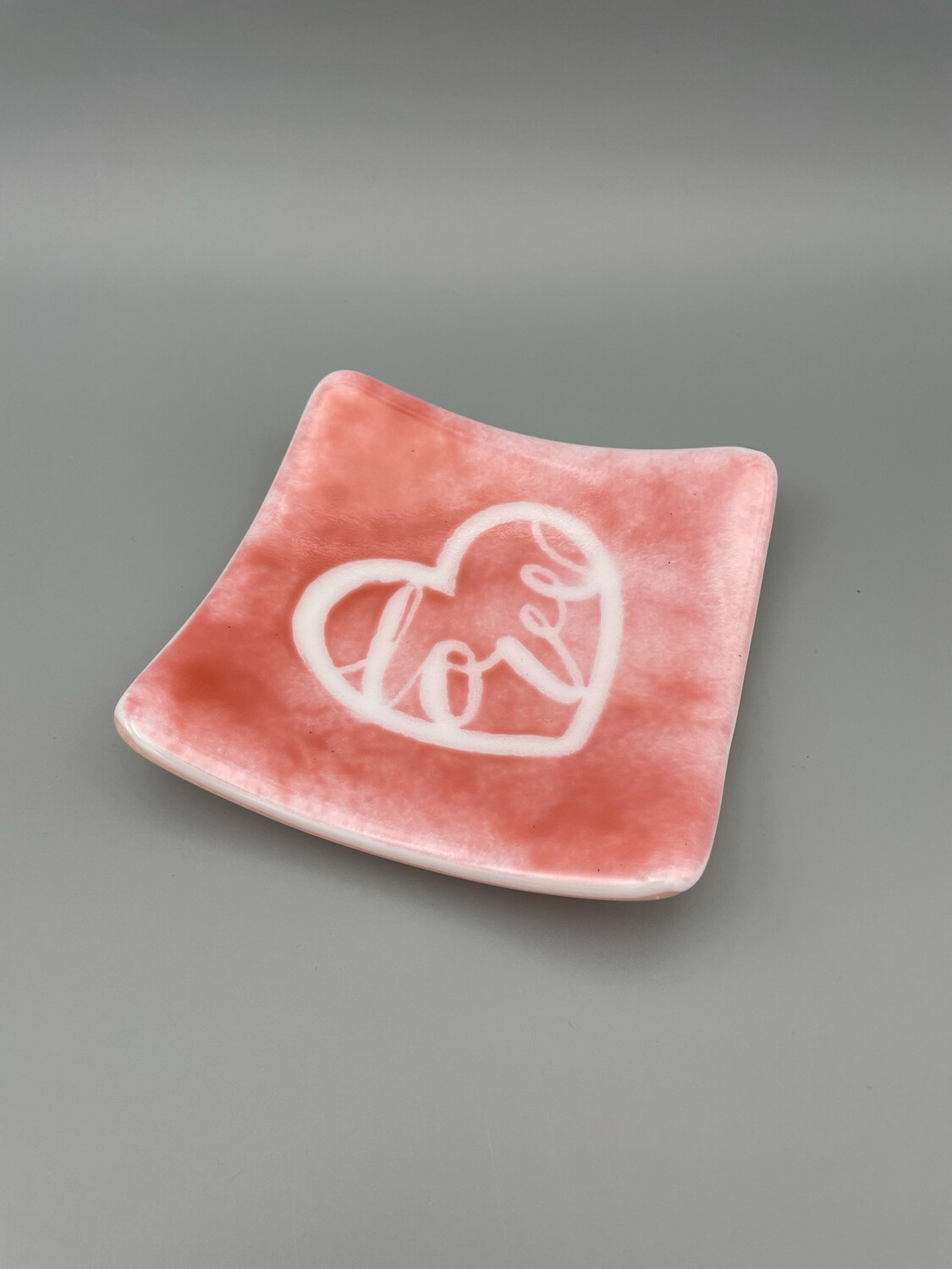 """""""Love is in the Air"""" Fused Glass Candy Dish"""