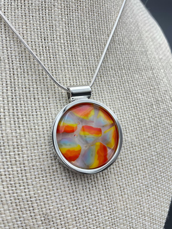 """""""Rainbow 1"""" Kilnformed Glass Necklace"""