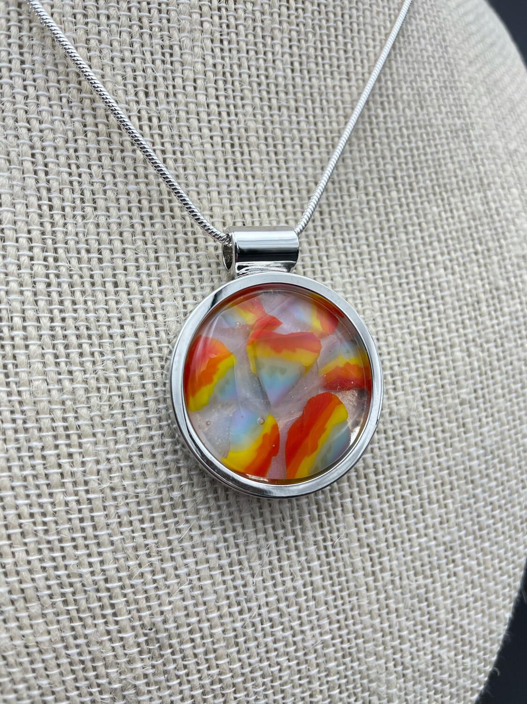 """""""Rainbow 3"""" Kilnformed Glass Necklace"""