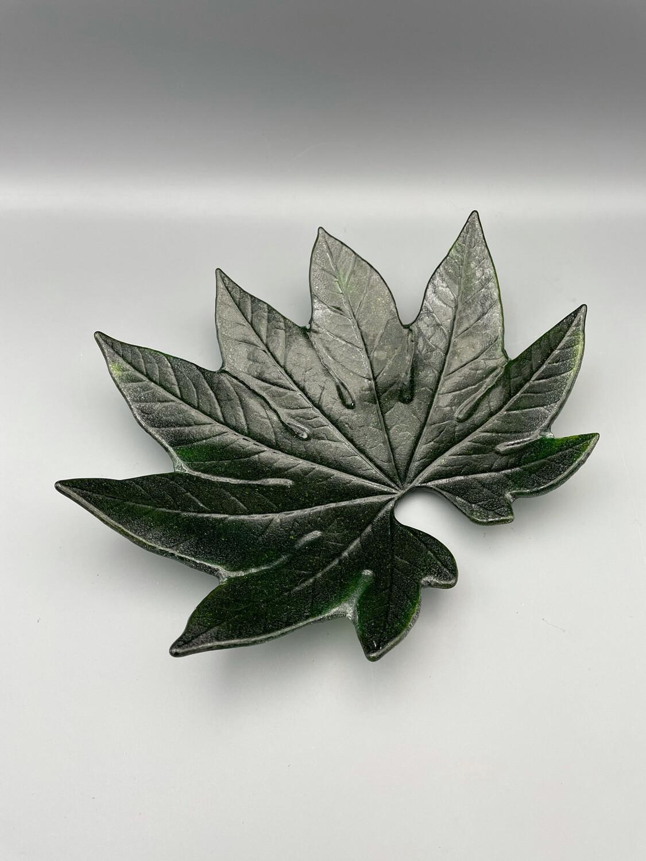 Aralia Leaf Fused Glass Candy Dish