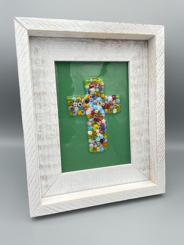 5x7 Framed Millefiori Cross