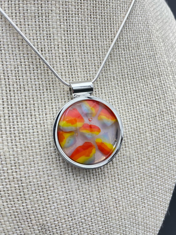 """""""Rainbow 2"""" Kilnformed Glass Necklace"""