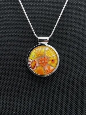 """""""Hot Girl Summer"""" Kilnformed Glass Necklace"""