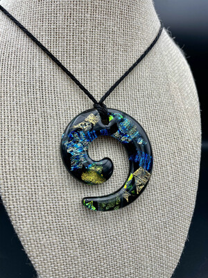 Dichroic Glass Swirl Necklace