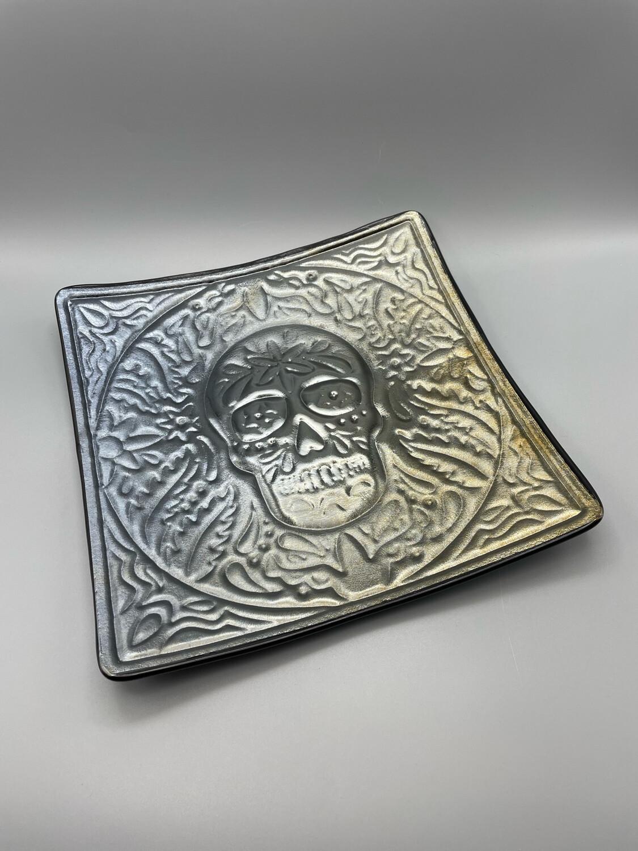 """""""Día de Muertos"""" Day of the Dead/Sugar Skull Fused Glass Platter"""