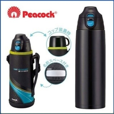 Термос Peacock ASG-W100ABK черный в чехле (2 крышки в комплекте)
