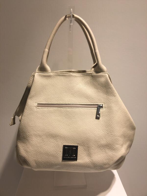 Mondieux Madame Off White Lederen Tas Met 2 Handvaten