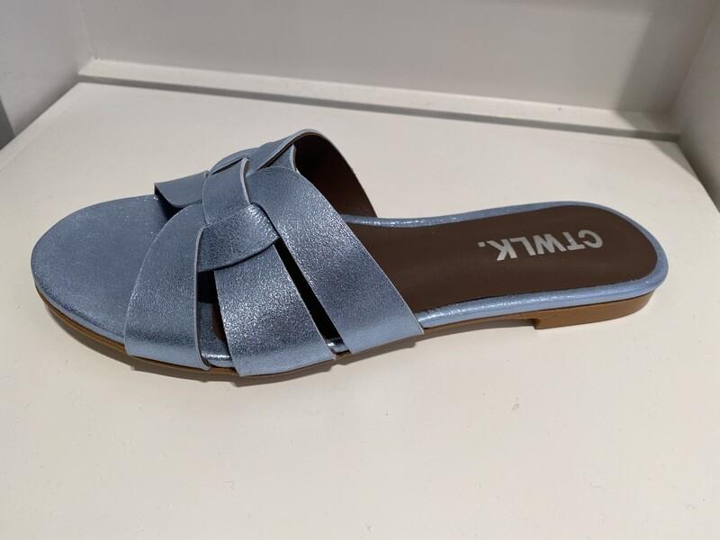 Catwalk /slipper blauw metallic