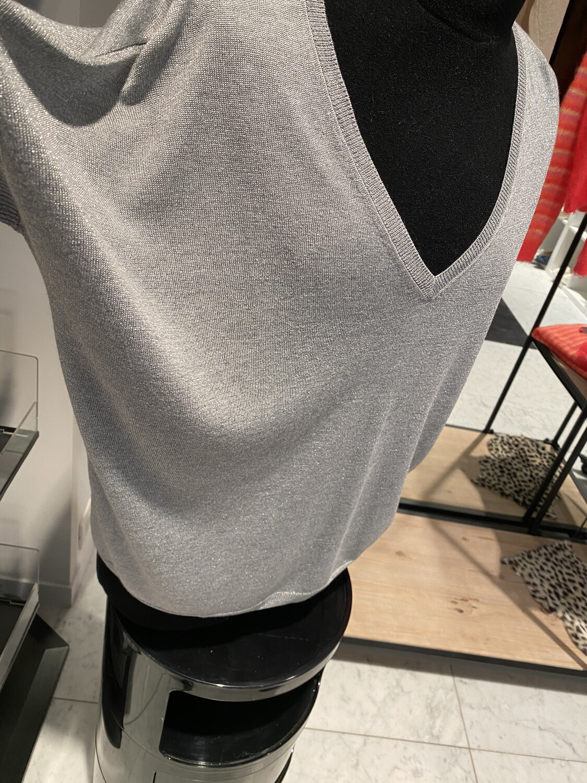 Tricots de Léa / pull korte mouw grijs zilver