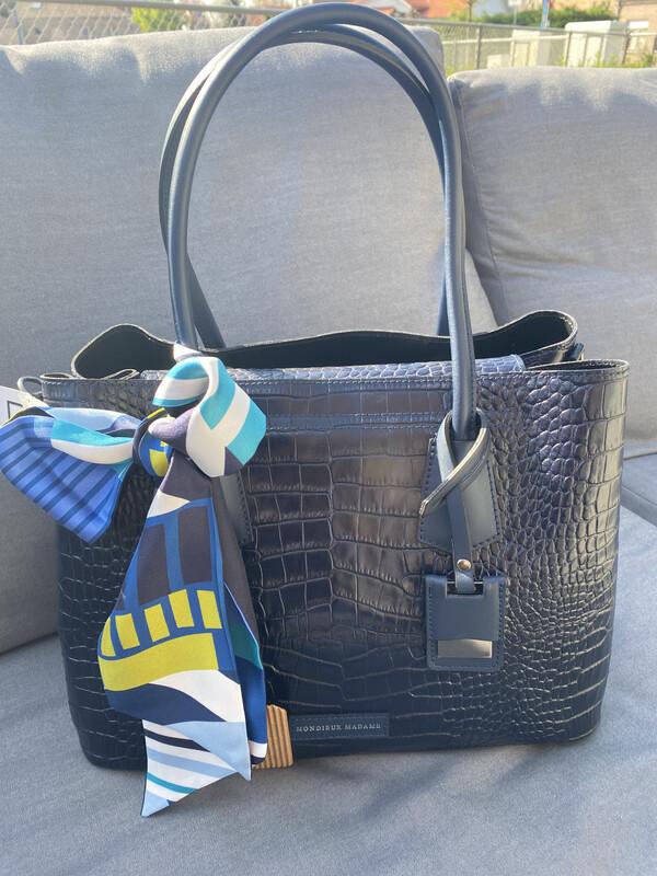 Mondieux madame / handtas donker blauw leder croco print
